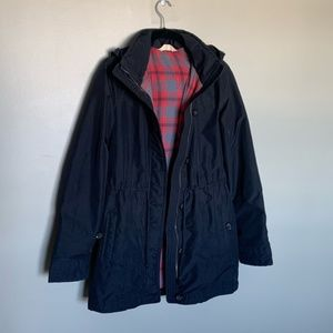 Hollister black flannel lined hooded raincoat M